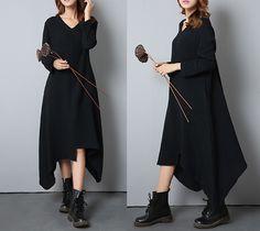Loose Fit V-Kragen Kleid Inregular von casualfashion auf DaWanda.com