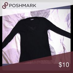 V-Neck black sweater shirt...Size L Excellent condition Tops