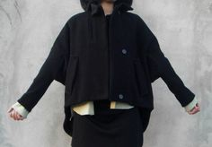winter coat black cape