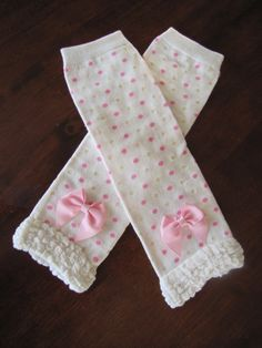 Cream Legwarmers with Pink and Shimmery Gold Dots by CuteyPatoot, $9.50