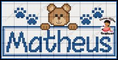Risultati immagini per nomes em ponto cruz Baby Cross Stitch Patterns, Cross Stitch Baby, Baby Patterns, Baby Dyi, C2c Crochet, Pattern Pictures, Plastic Canvas Patterns, Cross Stitching, Pixel Art