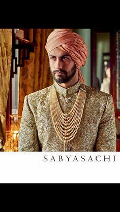 Sabyasachi sherwani and perfect groom look Wedding Dresses Men Indian, Wedding Dress Men, Wedding Groom, Wedding Men, Wedding Trends, Wedding Outfits, Bride Groom, Sherwani Groom, Mens Sherwani