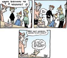 Today on Adult Children - Comics by Stephen Beals Children's Comics, Non Sequitur, Calvin And Hobbes, Adult Children, Comic Strips, Eat Cake, Happy Birthday, Happy Brithday, Comic Books
