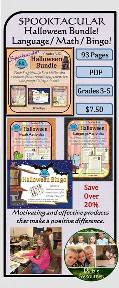A SPOOKTACULAR collection of Halloween activities.  The Bingo Game comes with 30 boards for large group play.  Great for any age.  The Language Activities are aimed at Grades 3-4 and come with answer keys.  The Math Activities are aimed at Grades 3-5 and also come with answer keys.  These are great for parties, centers, individual work. Great for giving kids fun and productive Halloween activities.  This bundle includes all three products.  Save over 20% from buying them separately.
