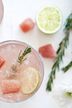"""Across the Universe"""" Cocktail. Combine gin from the UK, Aperol from Italy, spirits from across the world and watermelon ice cubes for a Royal refresher."""
