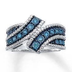9ef35a169 Blue & White Diamond Ring 1/10 carat tw Sterling Silver. Kay Jewelers ...
