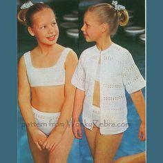 Vintage Childs Bikini Crochet Pattern PDF B060 from WonkyZebraBaby