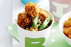 Save on washing up tonight and give the kids paper cups of pork nuggets and sweetened currant rice.