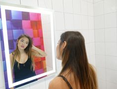 We provide our customers with beautiful and premier design lighted bath mirrors. Our stylish and sleek design lighted bath mirror gives customers a spa experience. Backlit Bathroom Mirror, Lighted Vanity Mirror, Led Mirror, Mirror With Lights, Wall Mirrors, Electric Mirror, Modern, Design