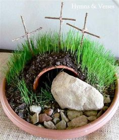 Easter Garden Craft. It would be cool to make an Easter garden with the kiddos and talk about the real meaning of Easter. http://hative.com/cute-easter-craft-ideas-for-kids/