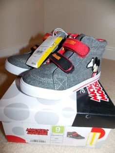 0a7db3c48e98 Mickey Mouse Hi Top Toddler Shoes Size 9 Grey Red Black  fashion