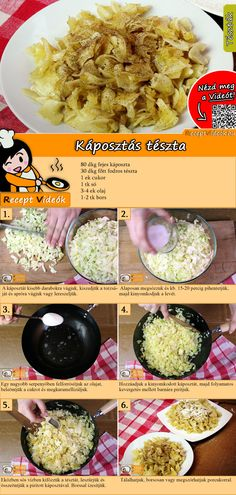 Simple cabbage pasta - Making a simple cabbage pasta recipe with video - Veggie Recipes, Pasta Recipes, Vegetarian Recipes, Cooking Recipes, Healthy Recipes, Hungarian Cuisine, Hungarian Recipes, Food N, Food And Drink