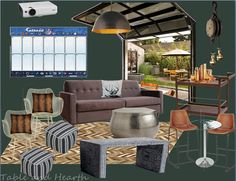 A dream man cave using moody wall color, outdoor space, and modern but rustic finishes.