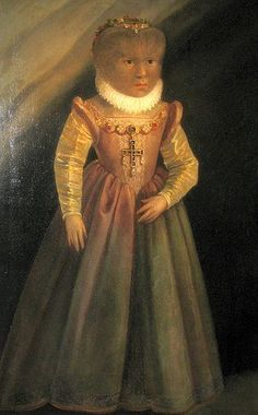 Antonietta in Schloss Ambras by unknown painter, c. late 1580's (she was born 1580) - thank you most heartily for the great ladies who provided more information and corrections for this painting, see below in the comments!