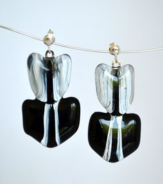 black earrings fused glass and silver findings  www.redpointtailor.com