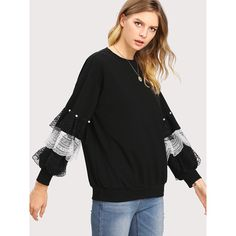 SheIn(sheinside) Pearl And Layered Lace Detail Pullover (1.245 RUB) ❤ liked on Polyvore featuring tops, long sleeve lace top, long sleeve tops, layered tops, embellished long sleeve top and colorblock top