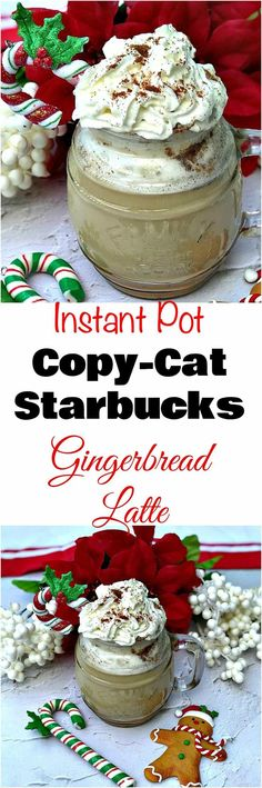 Instant Pot 100 Low-Calorie Copy-Cat Starbucks Christmas Gingerbread Latte is a quick and easy healthy pressure cooker, low-carb and reduced-sugar coffee recipe. #ChristmasDrinks #ChristmasRecipes
