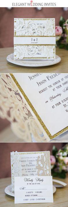 classic ivory glittery laser cut wedding invitations