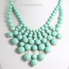 HOT Mint Green Beaded Bubble NecklaceBeaded by Emilyjewelry4u, $14.00