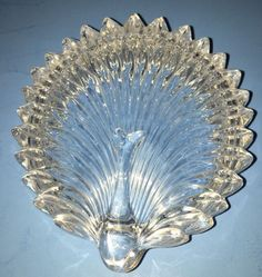 Vintage Lidded Peacock Shaped Heavy Clear Crystal Candy or Vanity Dish EUC | eBay