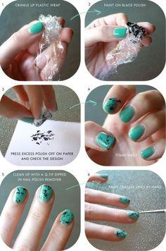 Nail art using plastic wrap