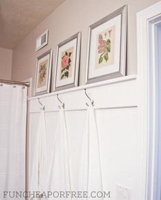 DIY simple bathroom moulding - all you need is 2 boards, nails, and some paint. Putting this on the DIY list for sure! #diy #bathroom #moulding