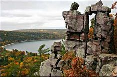 Devil's Lake State Park - Baraboo, WI.  29 miles of hiking trails, clear water, kayaking, canoeing, swimming, largest lake in WI.