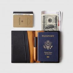 The Globe | Leather Passport Wallet with Pen | Black