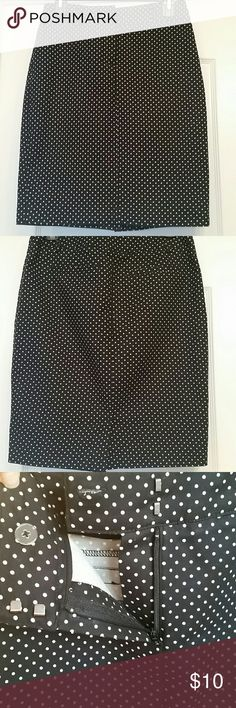 Polka-dot black & white pencil skirt It's 97% cotton, 3% spandex, 21 inches long. Gently worn. Good condition. Skirts Pencil