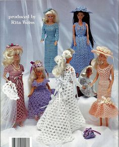 Barbie Fashion Doll Wedding Dresses Crochet Doll Pattern Book 1108 American School of Needlework. back cover
