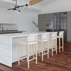 Brayden Studio Brigg Bar and Counter Stool Upholstery: White, Seat Height: Counter Stool Seat Height) Modern Kitchen Design, Interior Design Kitchen, Kitchen Decor, Interior Decorating, Kitchen Ideas, Bar Counter, Counter Stools, Counter Design, 24 Bar Stools