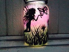 Fairy and Butterflies Mason Jar Light Outdoor Solar Light Hand Painted Mason Jar Hanging Lantern Quart Size Outdoor Lighting
