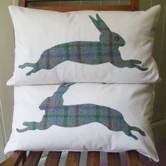 Harris Tweed applique hares on calico cushions.  www.facebook.com/thelittlestitchcompany