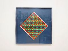 Vintage, 1960s Victor Vasarely pop art print. Op Art Gouache in diamond shape, on paper, mounted on floating board behind glass. Measures: 24.25 x 24.25 in original chrome frame: 23. Signed in ink lower center, Vasarely. Shipping is $50 within United States via FedEx ground.
