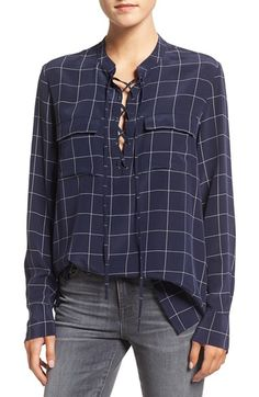 Free shipping and returns on Madewell 'Monroe' Plaid Lace-Up Silk Blouse at…