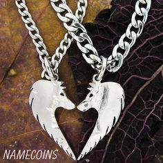 Wolf Heart Relationship Necklace Set Half Dollar hand by NameCoins, $54.99
