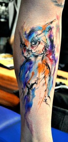 Owl, colorful, watercolour tattoo