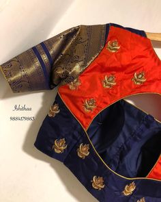 We love these long borders so much ! How about you ladies ? Embellished with gold and antique Zardosi and a bit quirky to add a tinge of orange ! Ping on 9884179863 to book an appointment. Pattu Saree Blouse Designs, Simple Blouse Designs, Stylish Blouse Design, Blouse Back Neck Designs, Fancy Blouse Designs, Bridal Blouse Designs, Saree Blouse Patterns, Designer Blouse Patterns, Designer Dresses