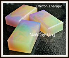 Chiffon Therapy. Luxury handmade soap in a rainbow by MadeByORiley