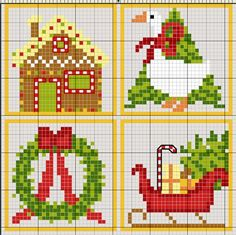 #Biscornu Inspiration #Cross-stitch #Christmas #quad 2 (turn at the corners accordingly)