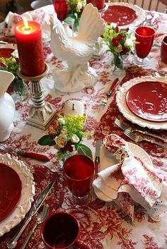 Red Toile for any elegant party