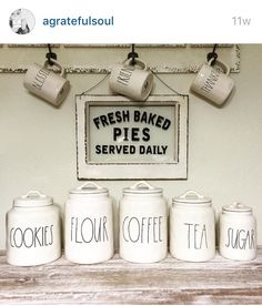 Farmhouse Kitchen Canister Sets and Farmhouse Kitchen Decor Ideas - Coffee Bar Ideas Too Love all these Rae Dunn canisters and mugs – perfect for a farmhouse kitchen!