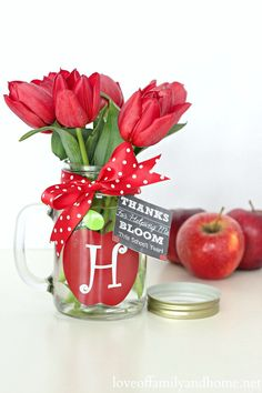Teacher Gift Ideas - Monogram Mason Jar Vase {Free Chalkboard Printable Gift Tags}