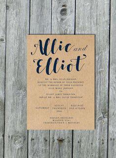 Navy Blue Wedding Invitation Navy Wedding Invite By Lilymothdesign
