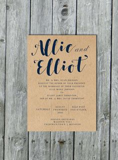 Navy blue wedding invitation navy wedding invite by LilyMothDesign
