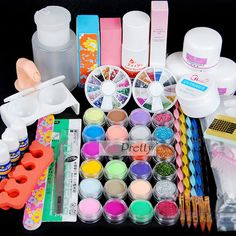 Pro 24 Color Acrylic Powder Liquiq Nail Art Glitter UV Gel Tips Kit Set #Unbranded
