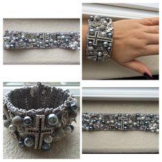 Diy Denim Bracelets, Crochet Bracelet, Wedding Bracelet, Peyote Stitch, Fashion Jewelry, Jewelry Making, Jewels, Beads, Knitting