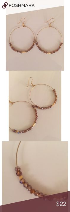 "Taupe and gold beaded hoop earrings Taupe and gold beaded hoop earrings. Measure 2.25"" long. Never been worn and in great condition! Great everyday earrings! Jewelry Earrings"