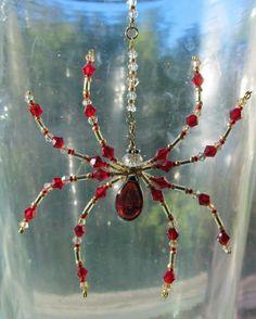 Beaded Garnet Spider Ornament – Crystals & Glass – Red Spider Sun Catcher by Spidertown on Etsy