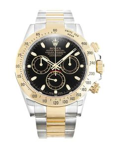 A great looking Rolex Daytona 116523 featuring a deep black dial surrounded by steel and yellow gold